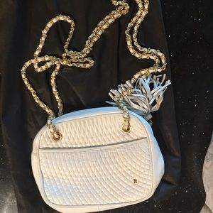 White leather Bally purse